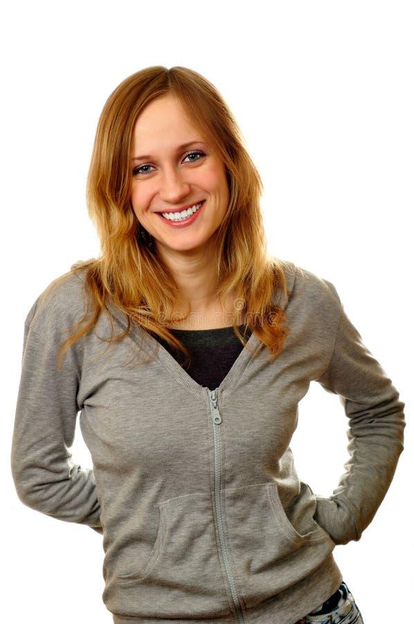Mulher de sorriso atrativa isolada no branco fotos de stock