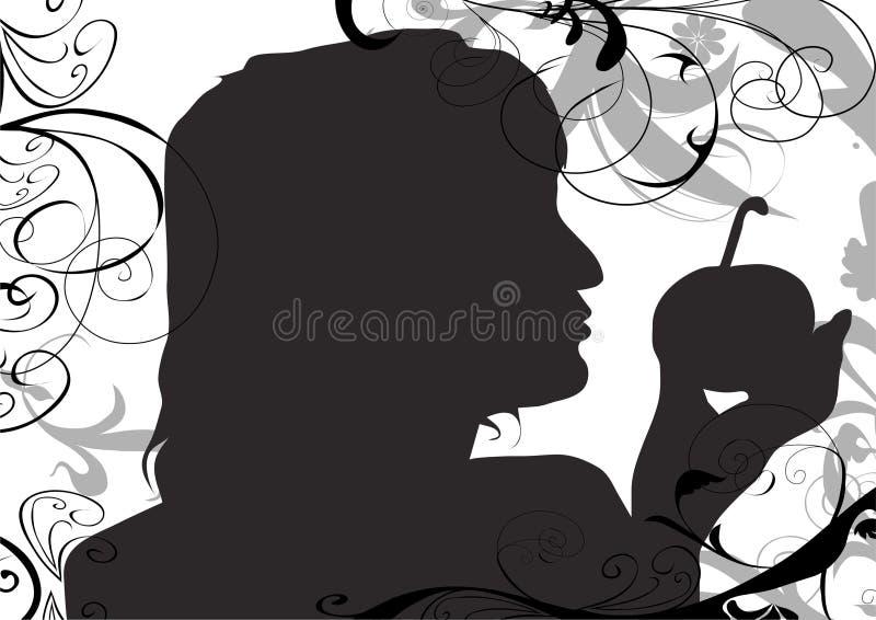 Mulher de sorriso bonita com apll ilustração do vetor