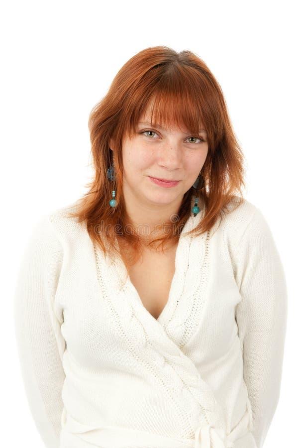 Mulher de sorriso bonita do Redhead foto de stock