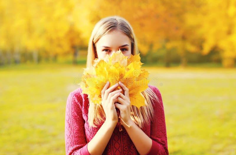 A mulher de sorriso bonita do retrato esconde suas folhas de bordo do amarelo da cara no outono ensolarado foto de stock