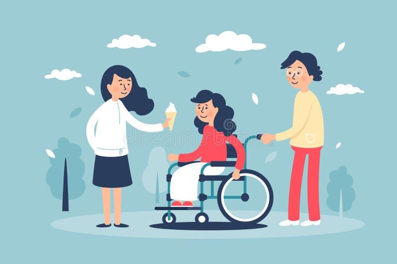 Mulher de sorriso bonito nova na cadeira de rodas com família e amigos ilustração stock