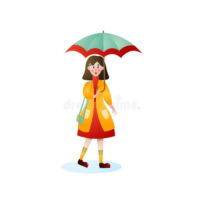 Mulher de sorriso bonito que anda sob a chuva na rua da cidade ilustração royalty free