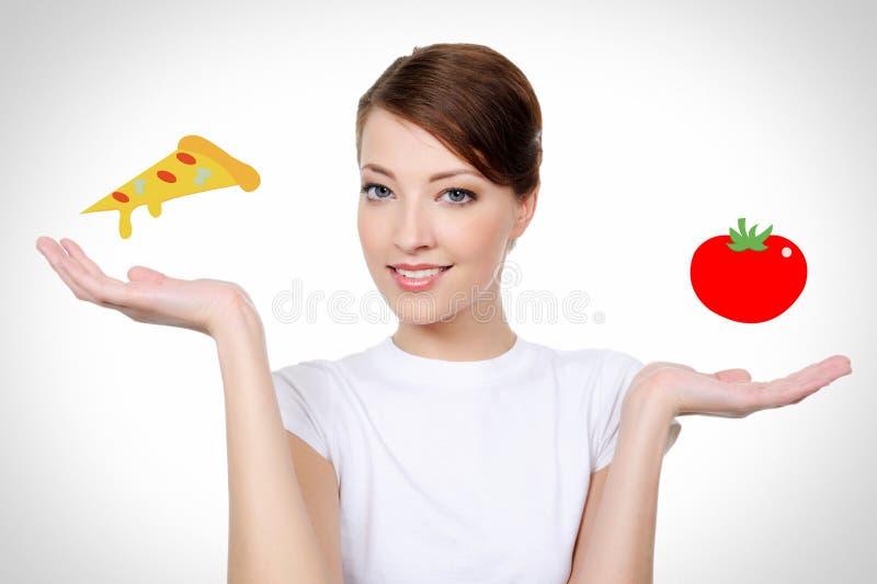 Mulher de sorriso com conceito saudável comer fotos de stock royalty free