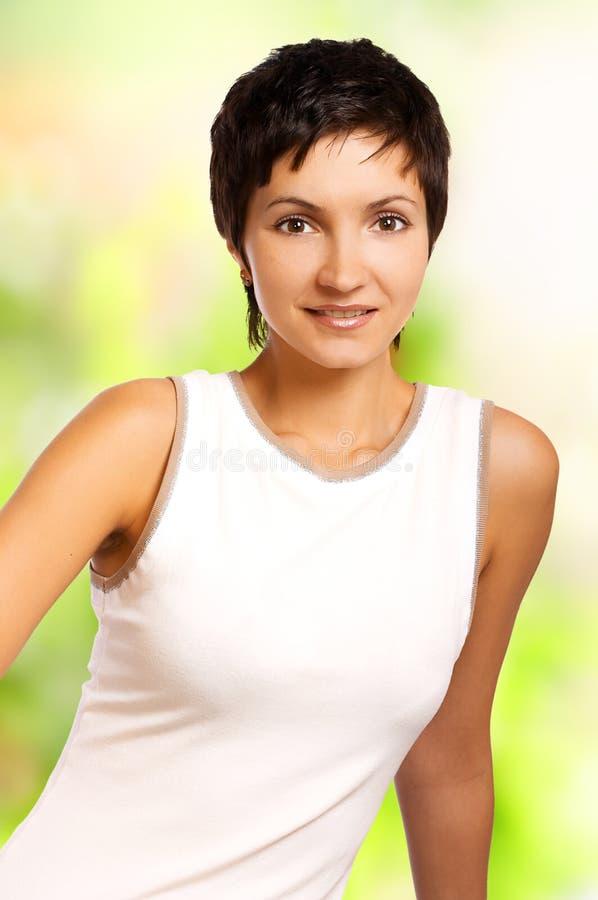 Mulher de sorriso da aptidão. Isolado   imagem de stock