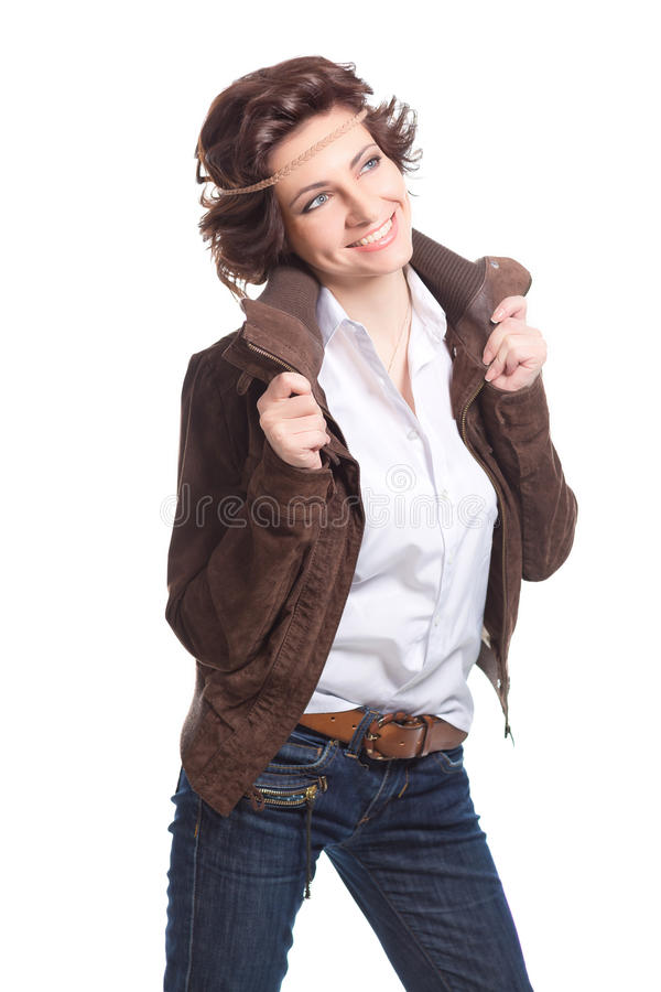 mulher de sorriso da fôrma no terno do outono imagem de stock