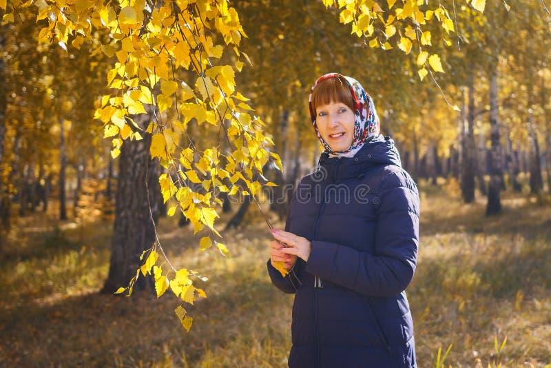 Mulher de sorriso da idade da reforma no revestimento do outono fotos de stock