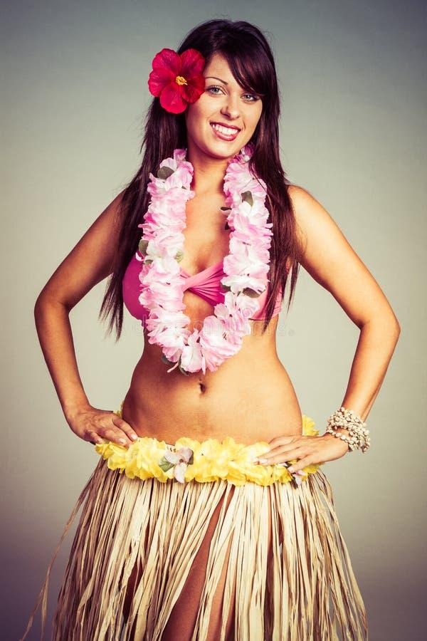 Mulher de sorriso de Hula fotos de stock royalty free