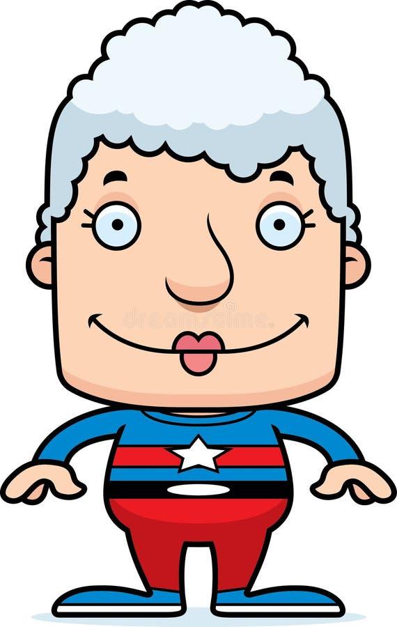 Mulher de sorriso do super-herói dos desenhos animados ilustração stock