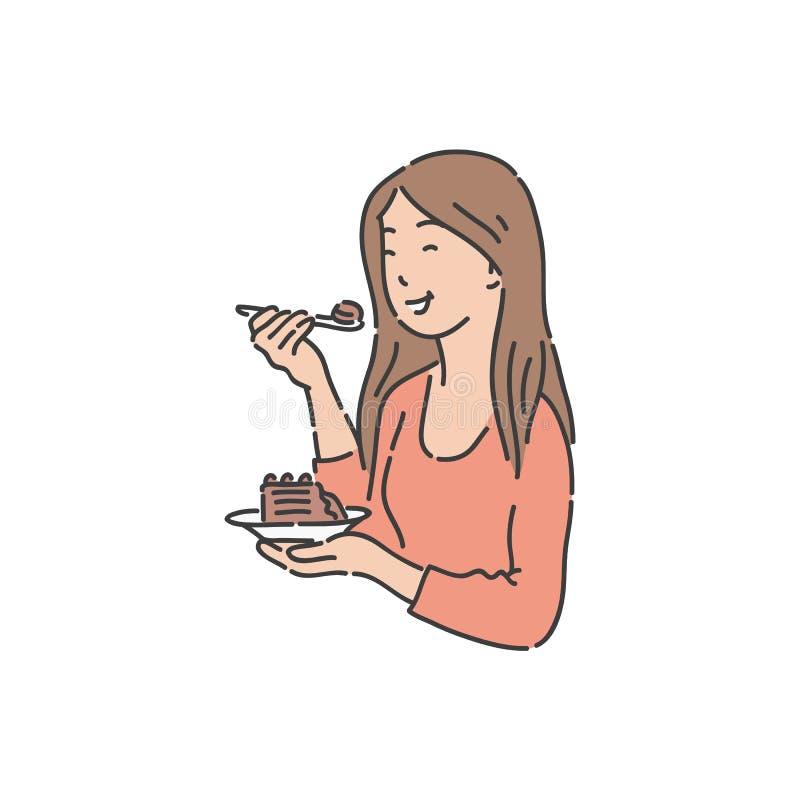 A mulher de sorriso está guardando a placa e comer o estilo do esboço do bolo ilustração do vetor