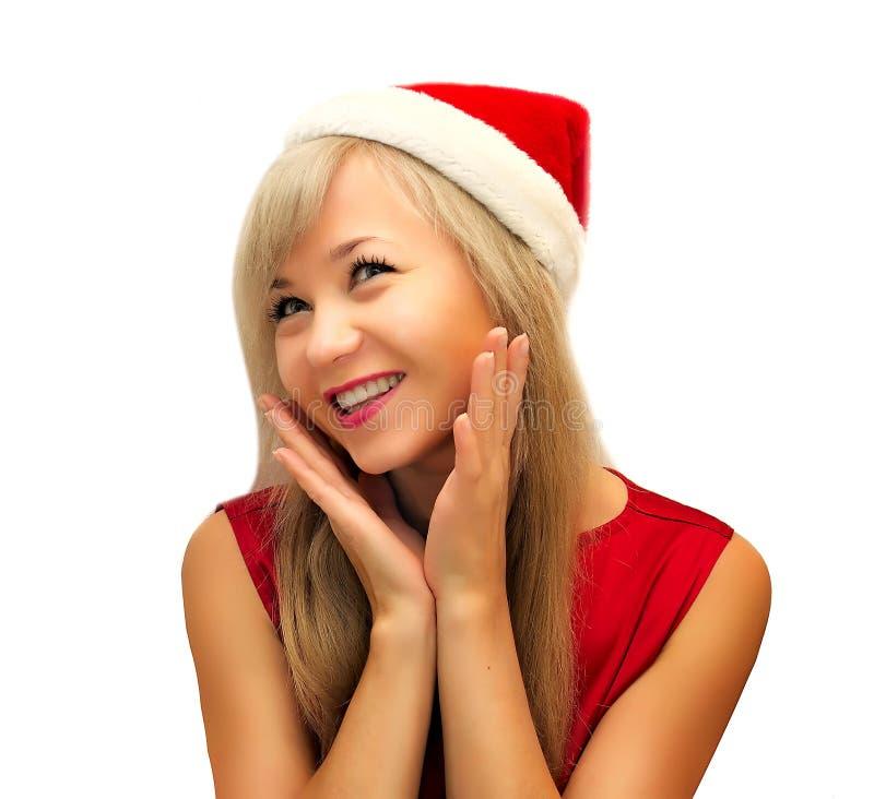 Mulher de sorriso feliz de Santa fotos de stock royalty free