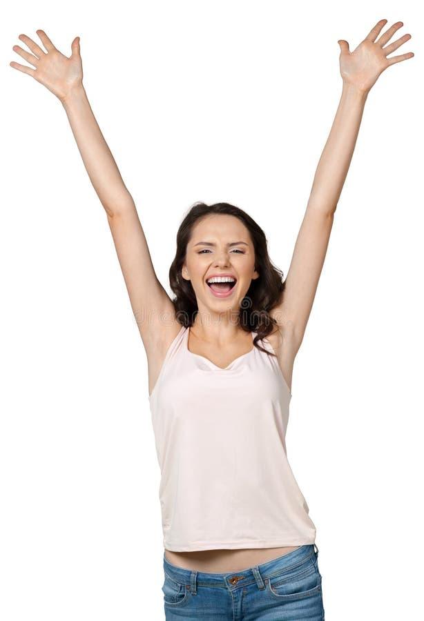 Mulher de sorriso feliz nova fotos de stock