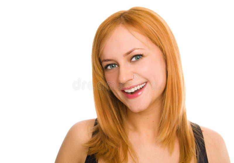 Mulher de sorriso green-eyed bonita imagens de stock royalty free