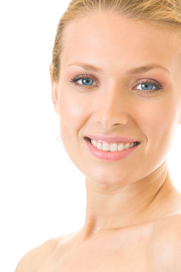 Mulher de sorriso, isolada fotos de stock