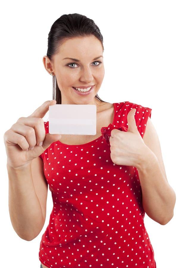 Mulher de sorriso no vestido vermelho fotografia de stock royalty free
