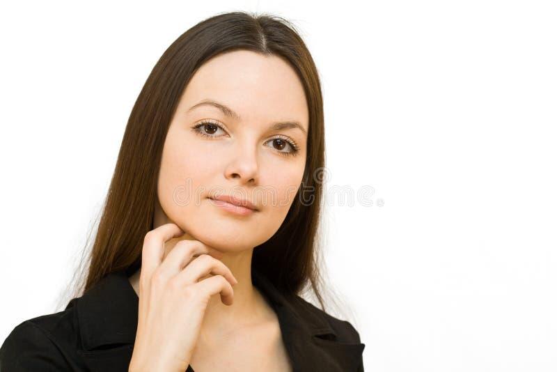 Mulher de sorriso nova em um terno de negócio imagem de stock royalty free
