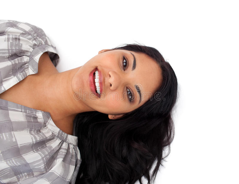 Download Mulher De Sorriso Que Encontra-se No Assoalho Foto de Stock - Imagem de latin, closeup: 12809852