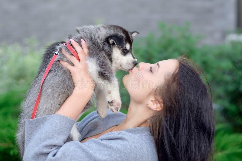 Mulher de sorriso que guarda o cachorrinho ronco bonito fotografia de stock