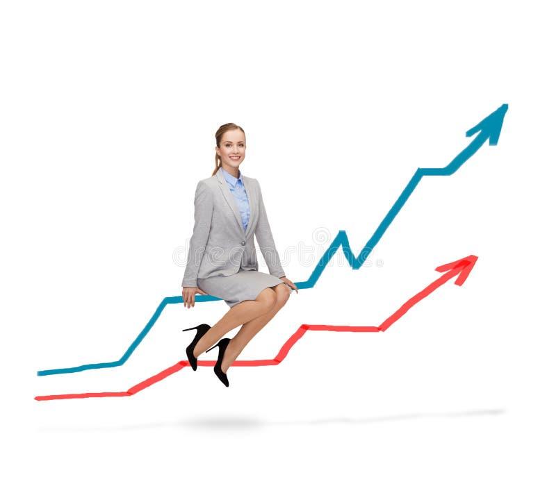 Mulher de sorriso que senta-se no gráfico crescente fotografia de stock