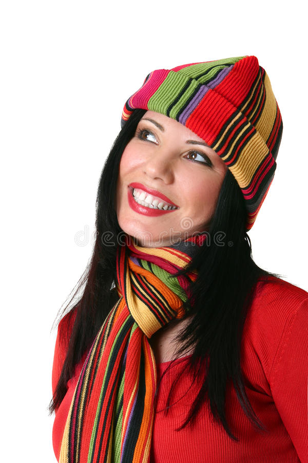 Mulher de sorriso vibrante imagem de stock