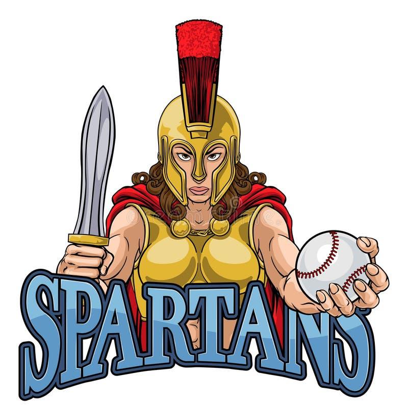 Mulher de Spartan Trojan Gladiator Baseball Warrior ilustração do vetor