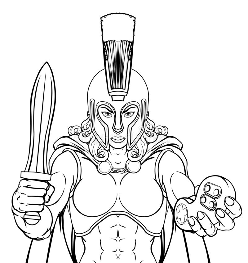 Mulher de Spartan Trojan Gladiator Gamer Warrior ilustração do vetor