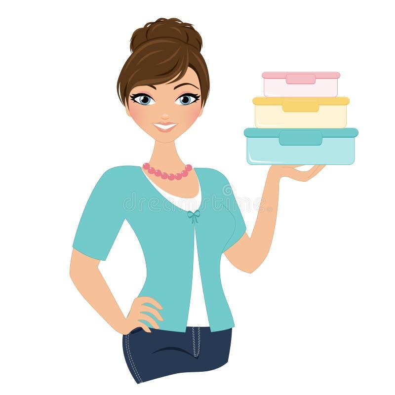 Mulher de Tupperware ilustração stock