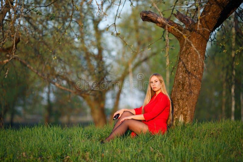 Mulher de Vape A menina loura bonita nova no vestido vermelho senta-se perto de uma ?rvore e fuma-se um cigarro eletr?nico fora e imagem de stock