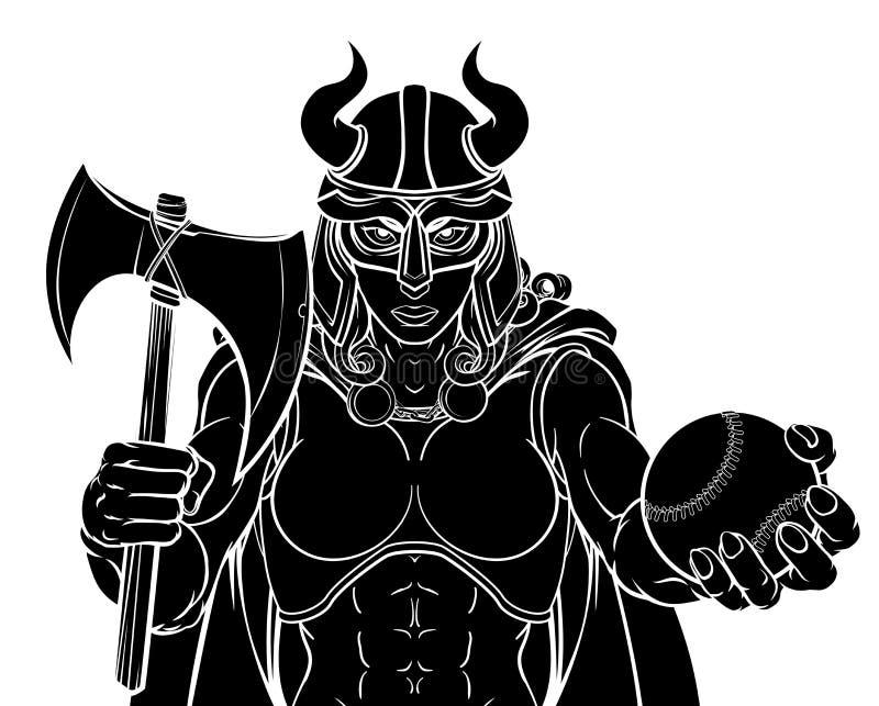 Mulher de Viking Female Gladiator Baseball Warrior ilustração do vetor