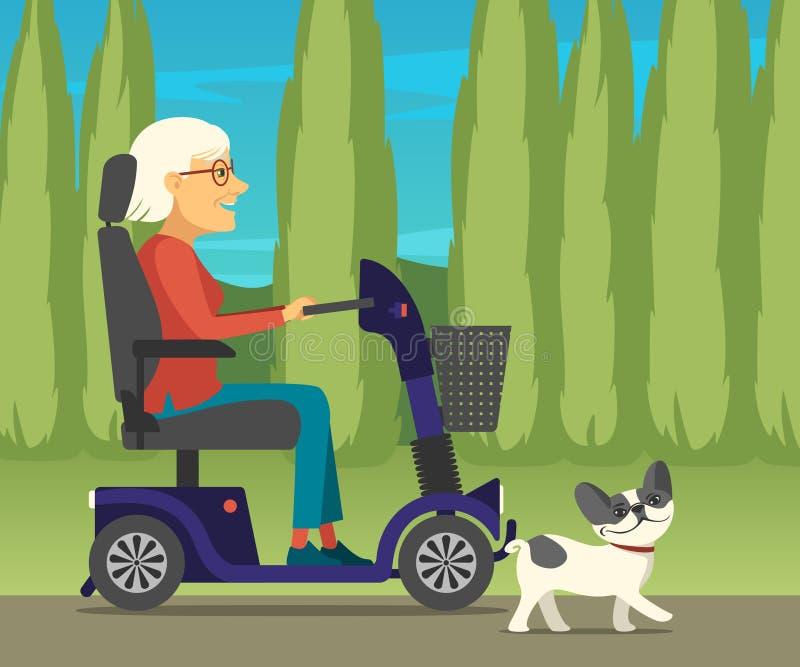 Mulher deficiente no 'trotinette' bonde da mobilidade que conduz no parque com seu buldogue francês ilustração do vetor
