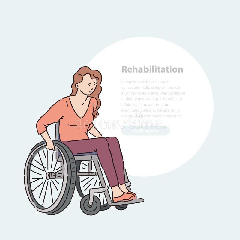 Mulher deficiente nova na linha bandeira da ilustração da arte e área redonda do vetor da cadeira de rodas para o texto ilustração do vetor