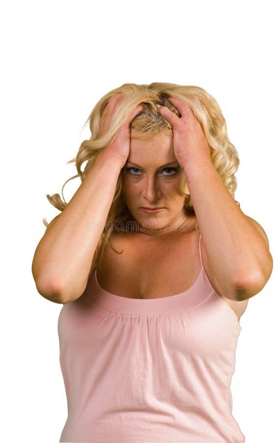 Mulher desassossegado fotografia de stock