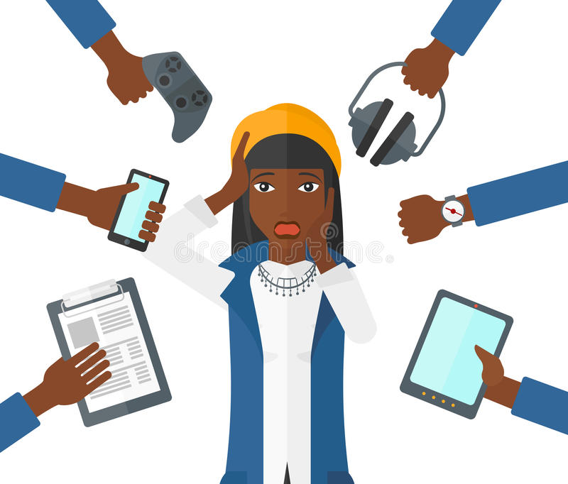 Mulher desesperada com dispositivos ilustração stock