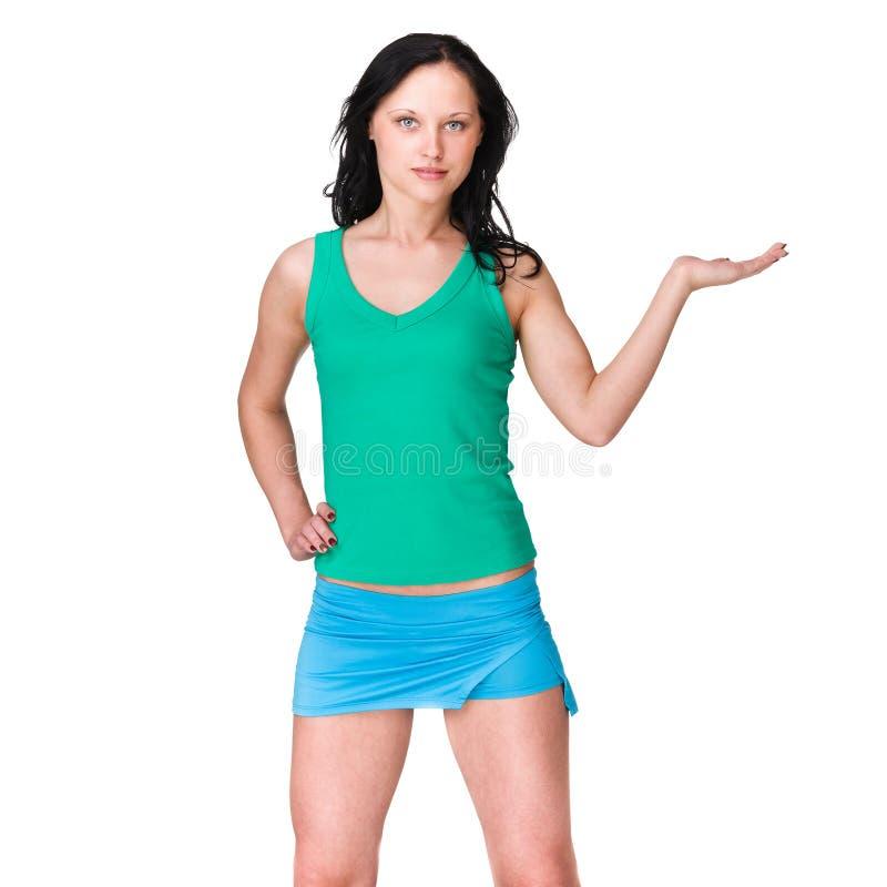 Mulher desportiva bonita no fundo branco fotos de stock royalty free