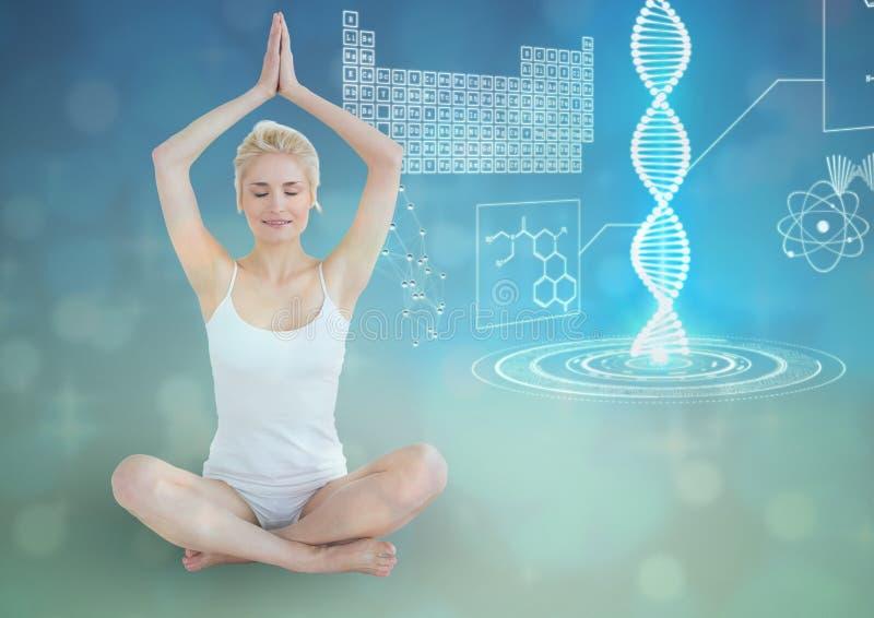 mulher desportiva com a corrente futurista do ADN atrás, fundo azul ilustração stock
