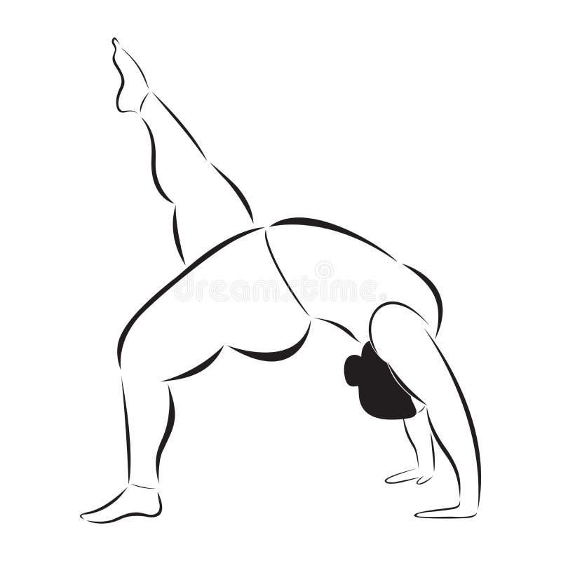 Mulher desportiva do tamanho positivo que faz a ioga ilustração stock
