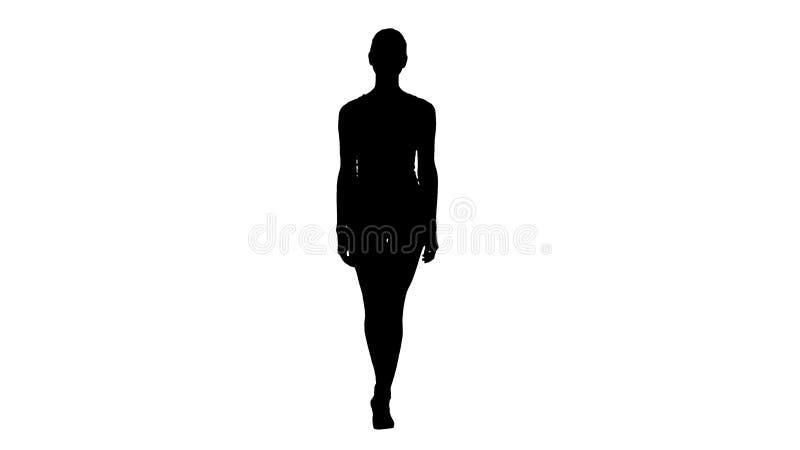Mulher desportiva dos estilos da silhueta que anda no branco ilustração royalty free
