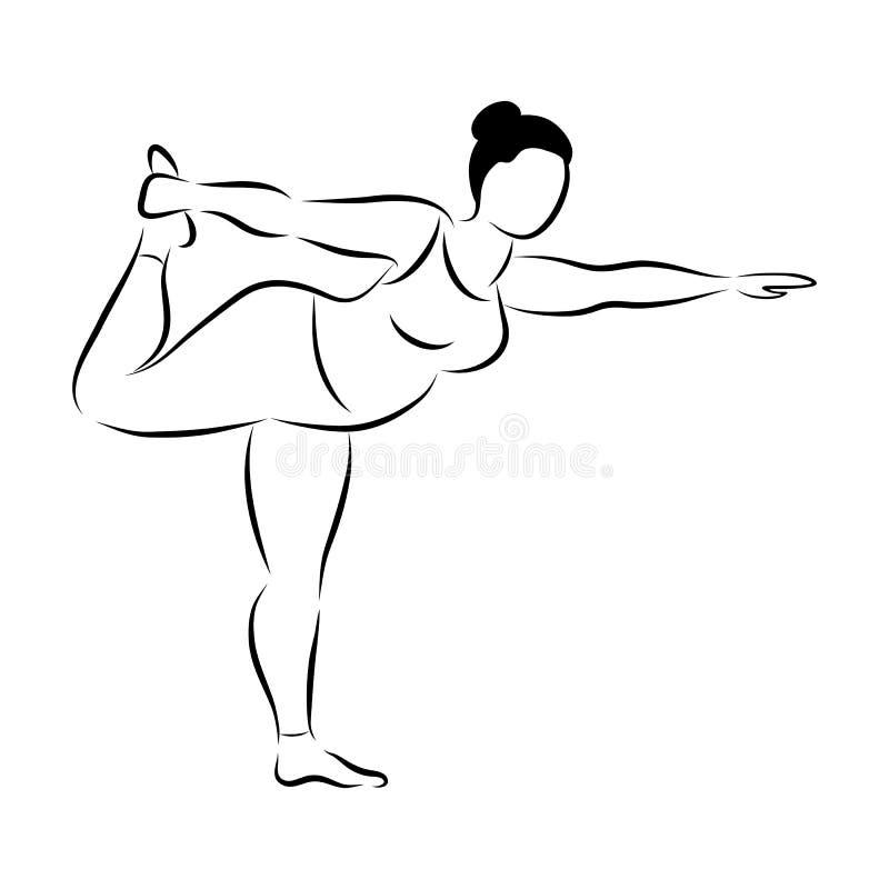 Mulher desportiva flexível do tamanho positivo que faz a aptidão da ioga Positivo do corpo Ilustração do vetor ilustração do vetor