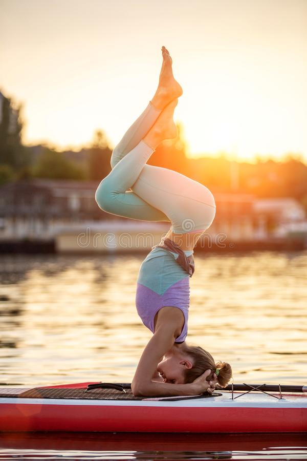 Mulher desportiva na posição da ioga sobre o paddleboard, fazendo a ioga na placa do sup, o exercício para a flexibilidade e o es foto de stock royalty free