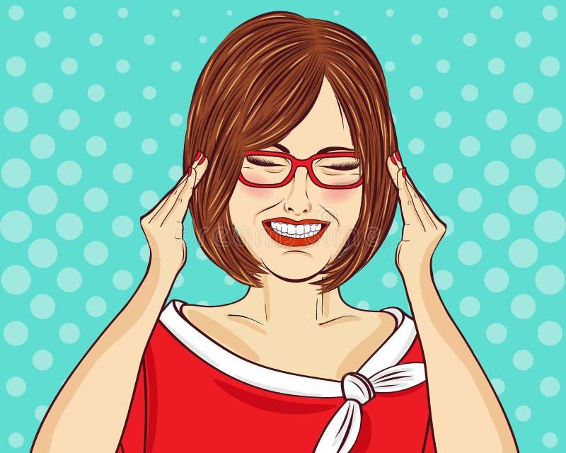 Mulher divertida do pop art com monóculos Mulher cômica Pin acima da menina ilustração royalty free