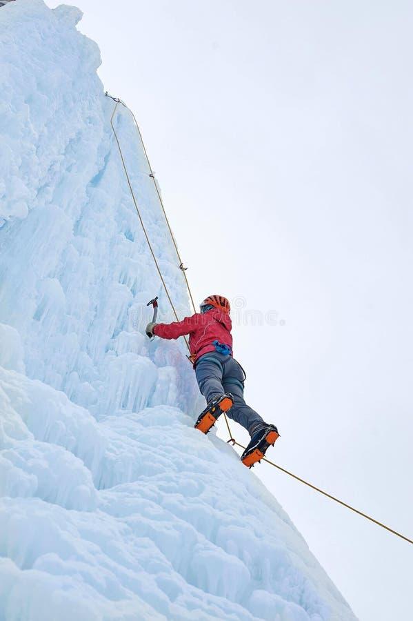 A mulher do alpinista com gelo utiliza ferramentas o machado no capacete alaranjado que escala um l imagem de stock