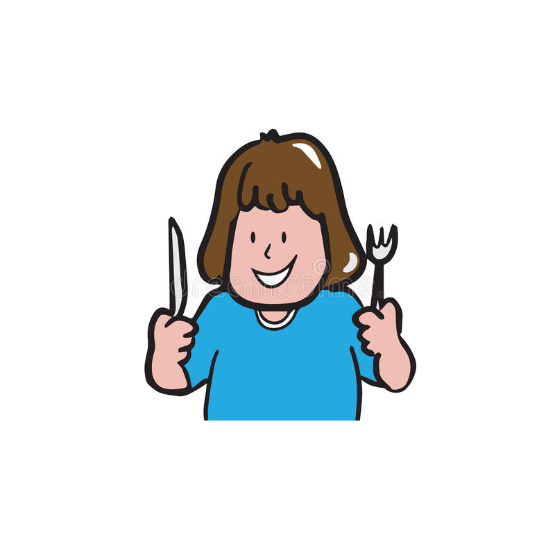 Mulher do apetite que guarda a faca e os desenhos animados da forquilha ilustração stock