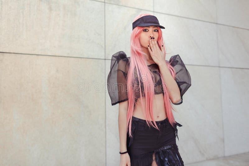 Mulher do asiático de Surpriser Retrato cosplay criativo do anime imagens de stock