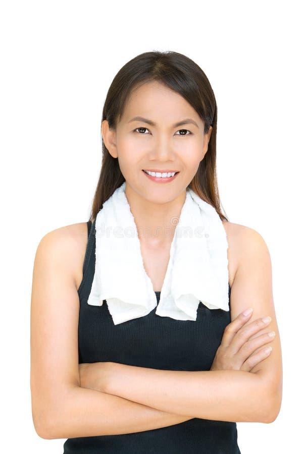 Mulher do asian da aptidão do retrato fotografia de stock