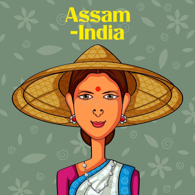 Mulher do Assamese no traje tradicional de Assam, Índia ilustração do vetor