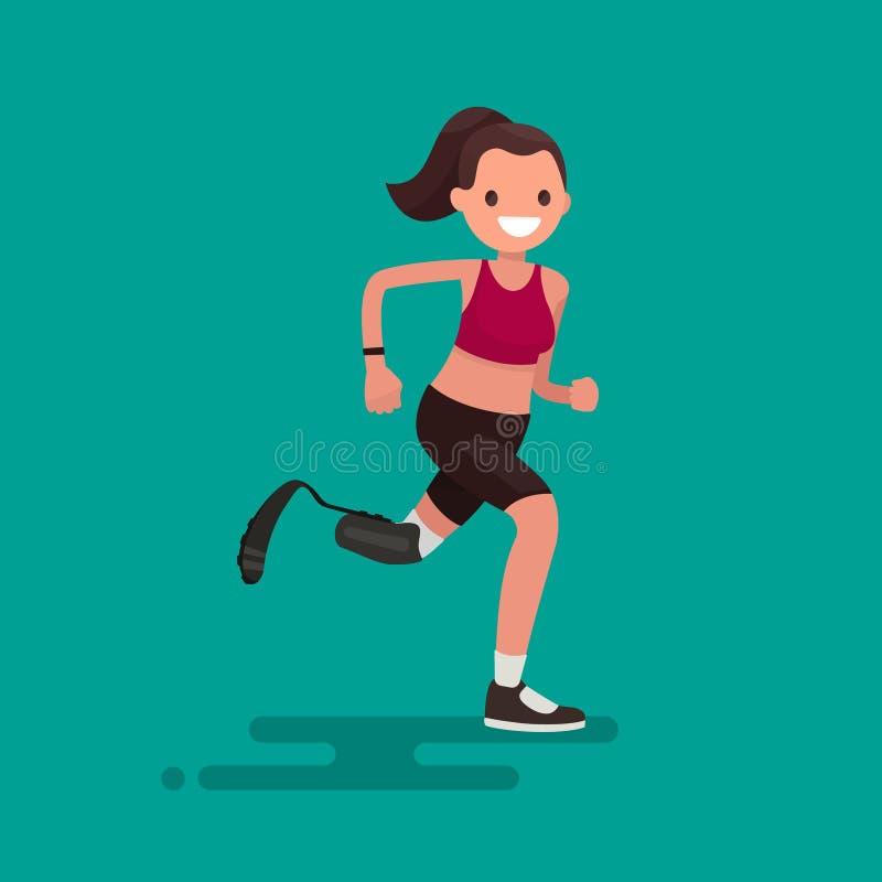 Mulher do atleta de Paralympic que corre na prótese Illus do vetor ilustração do vetor
