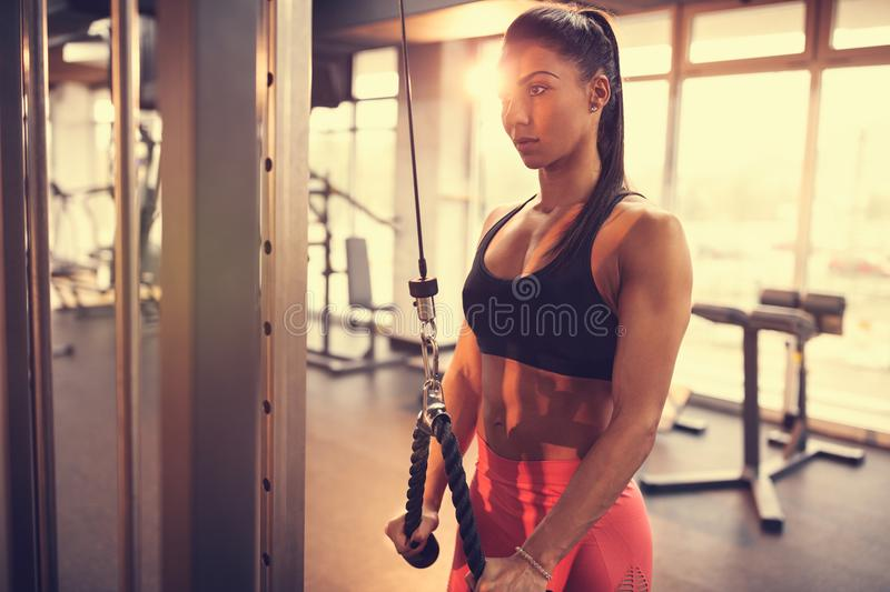 Mulher do atleta no gym fotos de stock royalty free