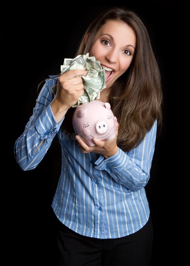 Mulher do banco Piggy fotos de stock royalty free