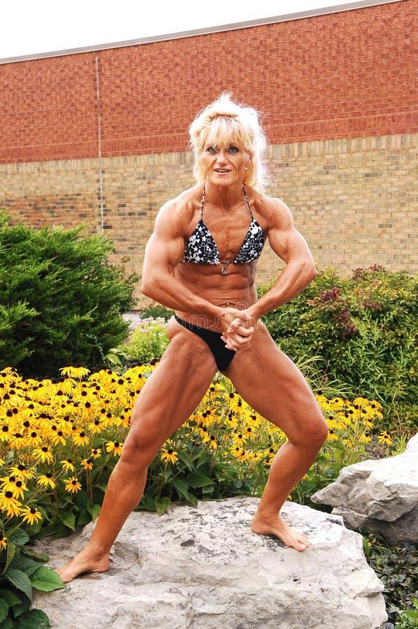 Mulher do Bodybuilding na posição. foto de stock