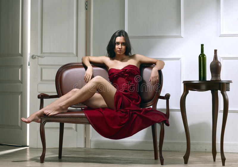 Mulher do brunette da beleza foto de stock royalty free