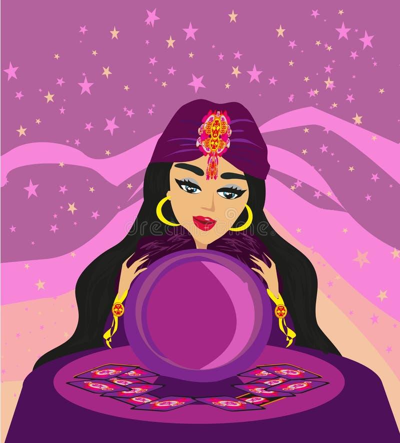 A mulher do caixa de fortuna lê o futuro da bola de cristal ilustração royalty free